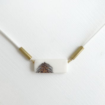 Frosted Strobili long necklace, white cord CLASSIC