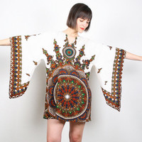 Vintage Hippie Dress Dashiki Dress 1970s 70s Hippie Mini Dress White Brown Angel Sleeve Dress Kimono Scarf Sleeve Festival Sundress M Medium