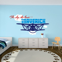 Airplane Wall Decal, Personalized Airplane Name Decal, Airplane Nursery, Nursery Plane, Airplane With Clouds