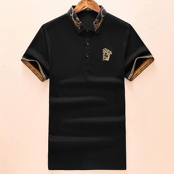 Versace New Embroidered Letter Men's Lapel POLO Shirt Half Sleeve T-Shirt Black