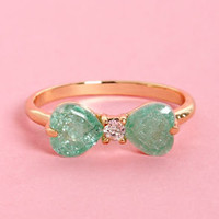 Love Bow-tion No. 9 Mint Bow Ring