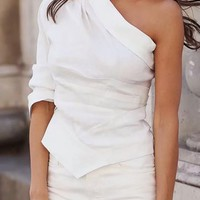 Send Me A Reminder White One Shoulder Long Sleeve Pleat Asymmetric Blouse Top