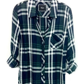 Rails Hunter buttondown in navy/green
