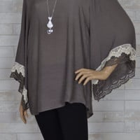 Gray Soft Tunic Wide Bell Sleeve Lacey Blouse- Plus Size