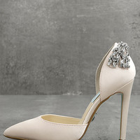 Blue by Betsey Johnson Rosie Champagne Satin Pumps
