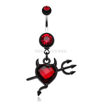 Cruela's Heart Belly Button Ring (Red)