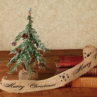 Vintage Merry Christmas Star Burlap Ribbon - 10-ft (Black Print 2-in)
