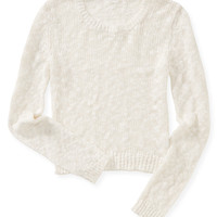 Aeropostale  Womens Long Sleeve Sheer Cropped Sweater