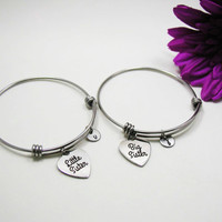 Big Sister Little Sister Bracelet Set - Two Sister Bangle Bracelet - Expandable Charm Bracelet - Initial Bracelet - Big Sis Little Sis Gift