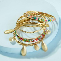 Faux Pearl & Metal Charm Bangle 7pcs