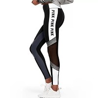 Victoria's Secret PINK Women's Fashion Print Exercise Fitness Gym Yoga Running Leggings Sweatpants Black&White