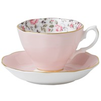 Vintage Rose Confetti Cup and Saucer