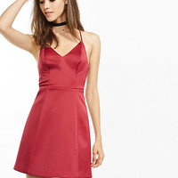 v-neck structured fit and flare dress