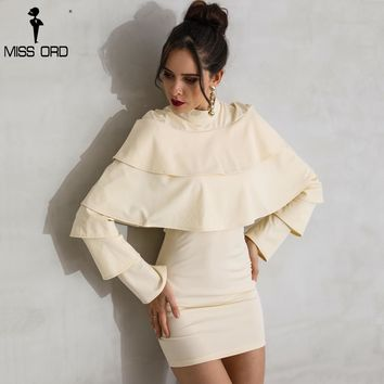 Sexy High Neck Long Sleeeve Ruffles Solid Color Elegant Dress