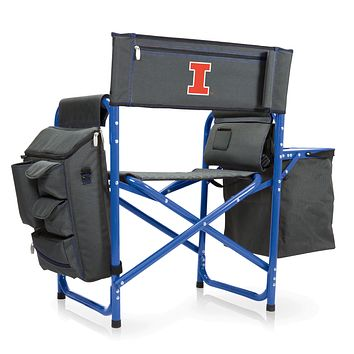 Illinois Fighting Illini - Fusion Backpack Chair with Cooler, (Dark Gray with Blue Accents)