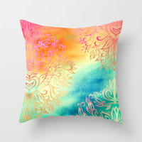 Watercolor Wonderland Throw Pillow by Micklyn