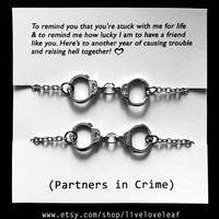 Set of two Rhodium plated Handcuffs bracelets - BFF jewelry - Best friends Graduation gift idea Best bitches handcuff jewelry sisters Bffs
