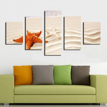 5 PCS beautiful sea ocean starfish shore best beaches in the world Modern Home Wall Decor Print on Canvas WALL Painting Unframed
