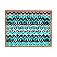 DENY Designs Madart Inc. Turquoise Black White Chevron Indoor/Outdoor Rectangular Tray, 14 x 18