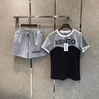 """Kenzo"" Women Casual Fashion Multicolor Letter Short Sleeve Shorts Set Two-Piece Sportswear"