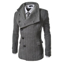 Men's Asymmetric Button Herringbone Pattern Trench Coat