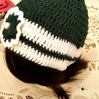 "L/XL Green and White ""Handmade"" Crochet Beanie. Ready to Ship"