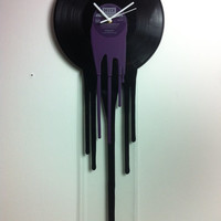 "Retro purple clock Modern Melting vinyl clock 12"" inch Record art . Purple Dripping clock Dali. Fashionable Dj music Home decor art deco"