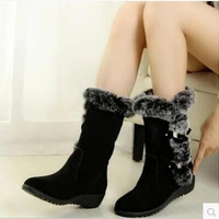 2014 autumn and winter thermal knee-high slip-resistant waterproof snow boots genuine leather rabbit fur winter boots wedges = 1931495364