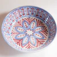 Beautiful hand painted Laholm Sweden serving dish fruit bowl