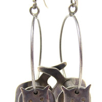 Taxco Mexico 925 Cat Earrings Sterling Silver Hoop Stamped TM Mexico Animal Mexican Feline Large Hoop Vintage Jewelry 3D Dangle Wire Hoop