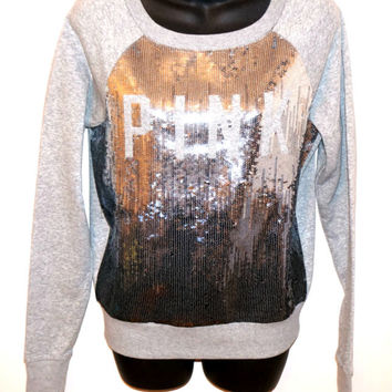 VICTORIA'S SECRET LOVE PINK Sequin BLING SWEATER Sequence Shirt Long Sleeve Top