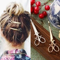 Fashion Simple Personality Women Hair Jewelry 18k Gold plated Metal Scissors Hairpin Hair Accessories