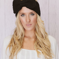 Black Knitted Bow Headband Knitted Head Band Ear Warmer with Large Oversized Knitted Bow BEST SELLER Fashion Accessory
