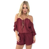 Want You To Want Me Romper In Wine
