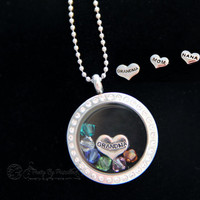 Grandmother Necklace LG Glass Memory Locket w/ floating birthstones for grandchildren-MOM NANA-Perfect gift for Mother's Day-Up to 20 stones
