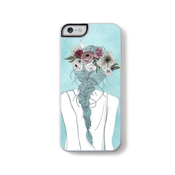 Flower crown girl illustration on blue for iPhone 5