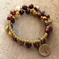 """Faceted Mookaite """"Eternal Youth and Adventure"""" 27 Bead Mala Wrap Bracelet"""