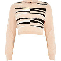 River Island Womens Pink graphic print knitted crop top