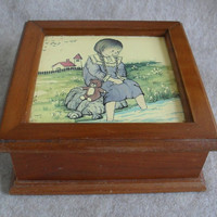 Vintage  Wooden Jewelry Trinket Box Girl on the Seashore