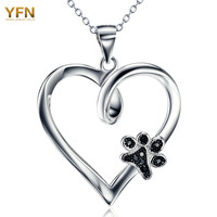 YFN Brand Necklace 925 Sterling Silver Heart Necklace with Black CZ Dog Paw Charm Fashion Jewelry Best Gifts For Women GNX10879