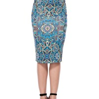 Casual Tribal Printed Pencil Midi Skirt
