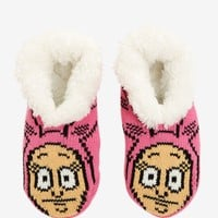 Licensed cool Bob's Burgers Louise Belcher Pink Cozy Fluffy Slippers Socks Anti Slip Soles NWT