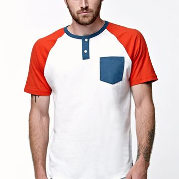 RVCA Come Up Henley Baseball T-Shirt - Mens Tee - Red/White/Blue