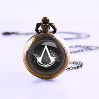 Assassin's Creed Pocket Watch,Bronze pocket watch,pocket watch necklace,Best gift for grood and bride