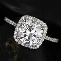 Catalina Platinum Cushion FB Moissanite and Diamonds Halo Engagement Ring (Other metals and stone options available)