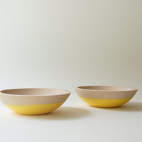 """LAST CHANCE 6"""" Snack Bowl, Wooden Bowl, Sunshine Yellow (set of 2)"""