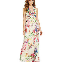 Hailey by Adrianna Papell Floral Chiffon Maxi Dress - Ivory/Multi