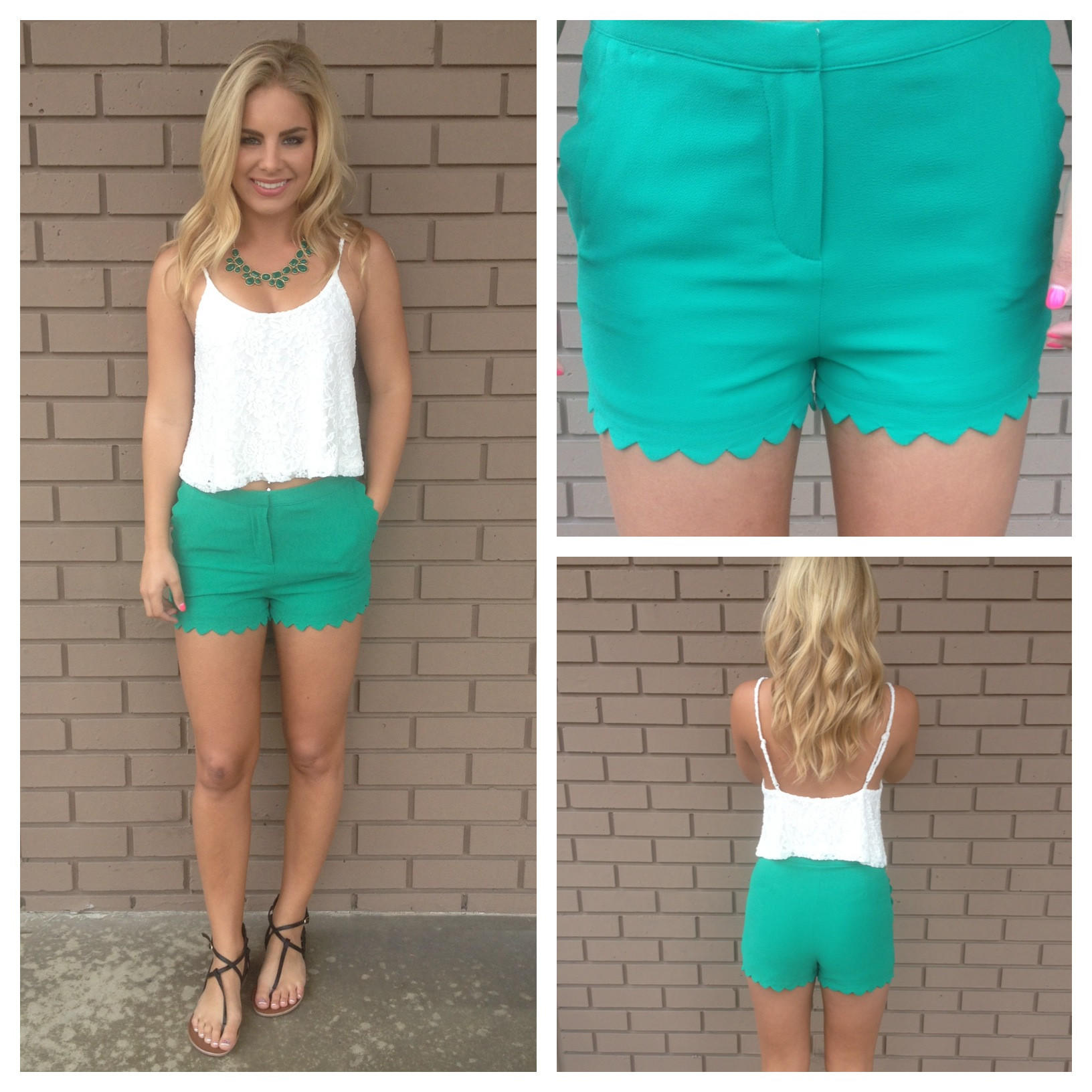 Image of Green Scallop Woven Shorts with Scallop Pockets