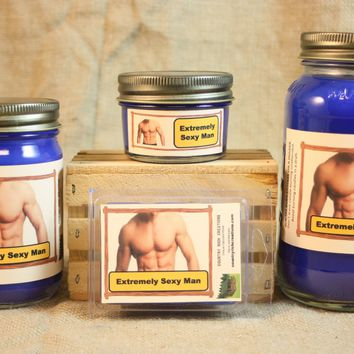 Extremely Sexy Man Candle and Wax Melts, Male Fragrance Scented Candles and Wax Tarts, Gift for Him, Masculine Scent Candle