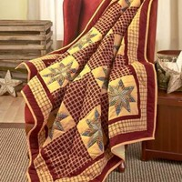"""50"""" X 60"""" Burgundy Quilted Patchwork-Look Throw Blanket Americana Sofa Chair Bed"""